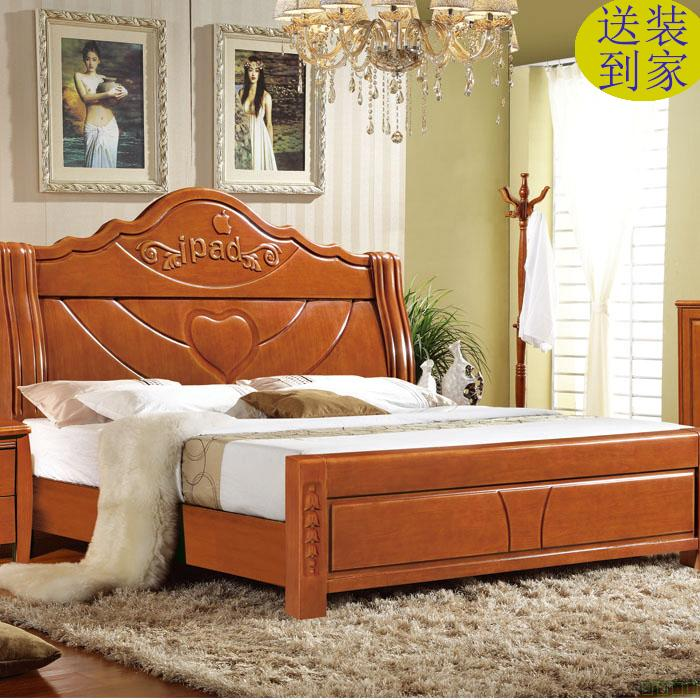 Modern minimalist solid wood bed, 1.8 meter double bed oak bed, Chinese bed economy bed type bed