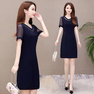 99大码女装连衣裙 夏新款韩版时尚气质A字裙中长款妈妈装网纱裙