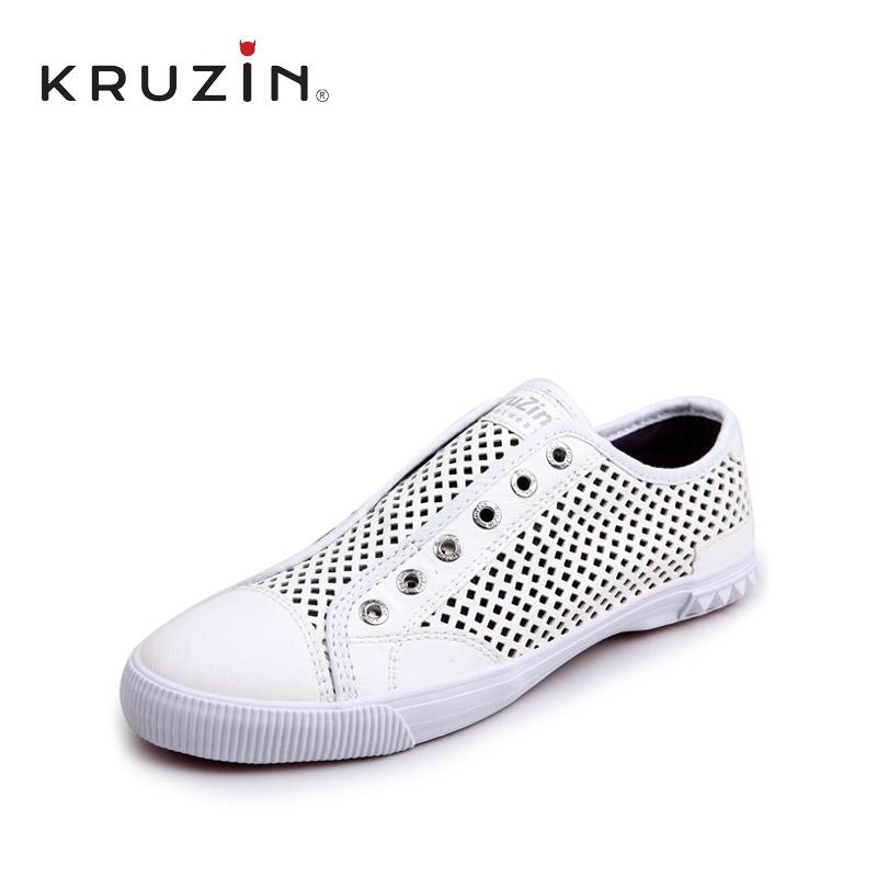 KRUZIN夏季凉爽镂空情侣皮鞋套脚低帮透气鞋男女平底休闲潮鞋子