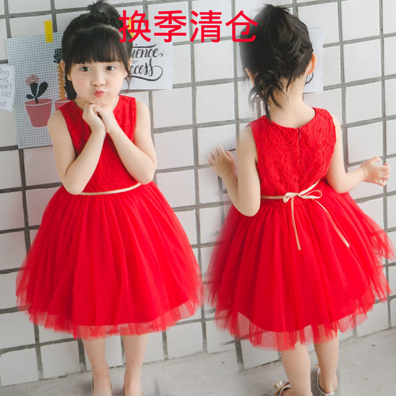 童装2017新款夏女童红色背心裙儿童公主裙无袖蓬蓬纱裙蕾丝连衣裙