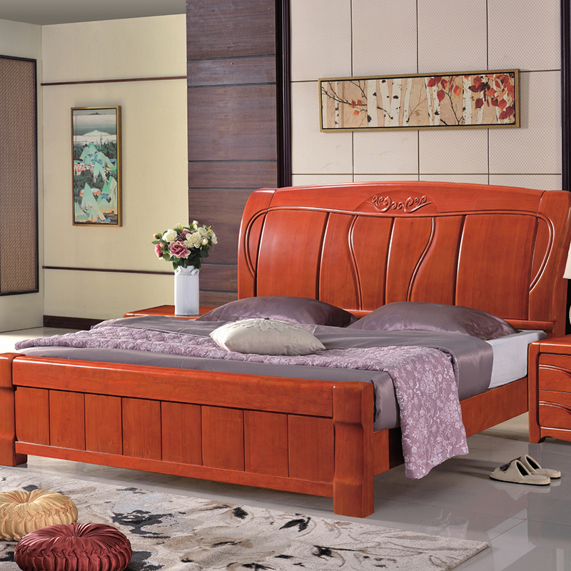 Oak solid wood beds, 1.8 meters double adult small unit, single 1.5m master bedroom, storage marriage bed, simple economy type