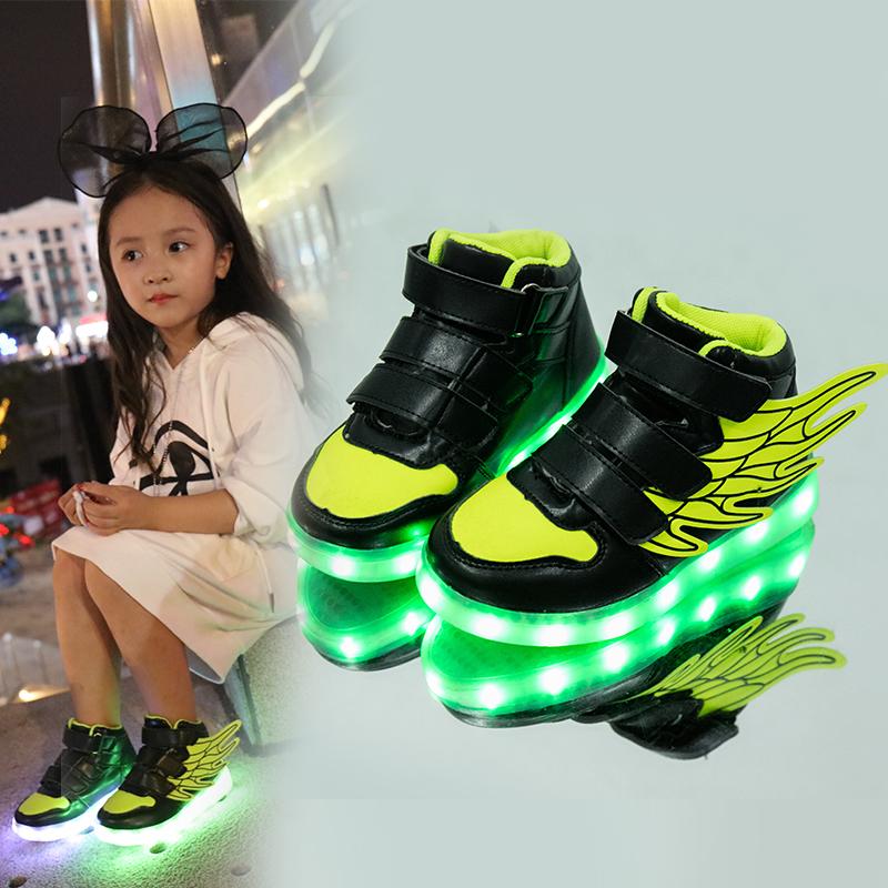 韩版儿童七彩发光鞋男女童夜光鞋带灯运动鞋usb充电led闪光亮灯鞋