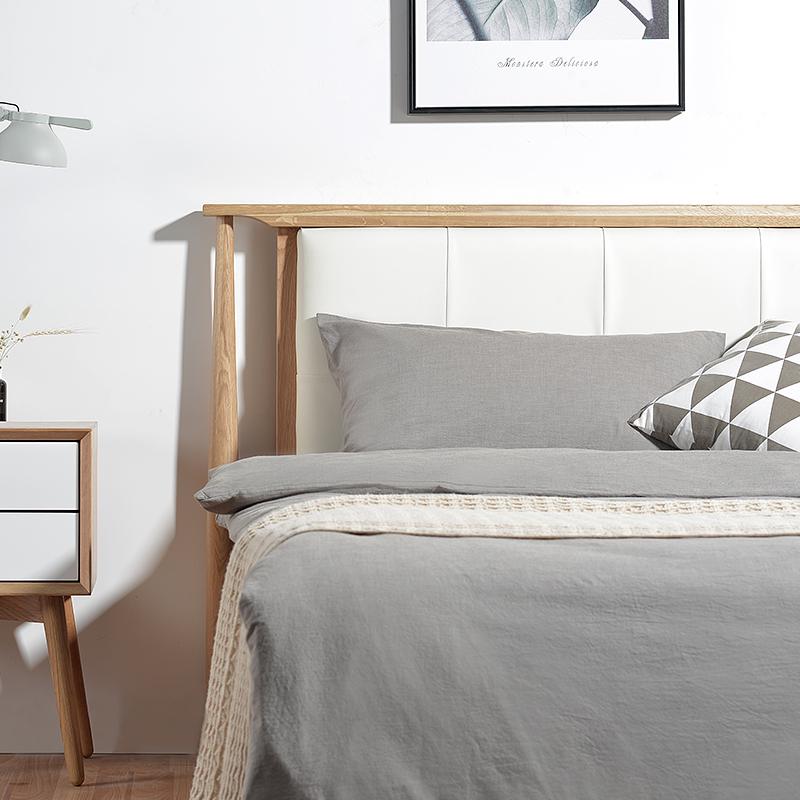 Simple modern Nordic wood bed 1.5 meters 1.8 meters single oak bed Zhuwo Jane creative bed