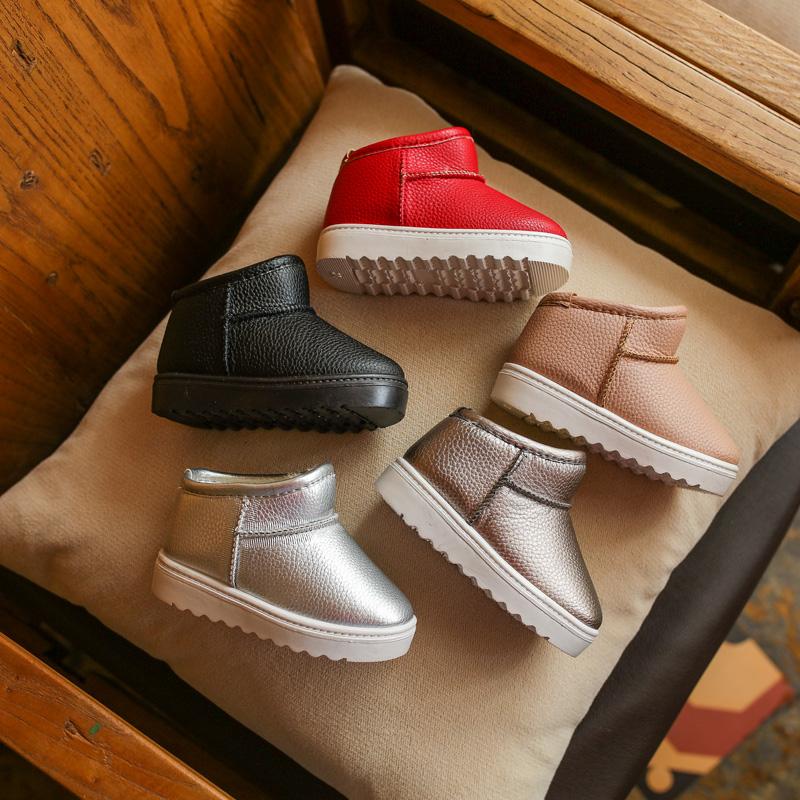 2017冬季新款雪地靴男女童休闲棉鞋软底防滑短靴加厚加绒靴子儿童