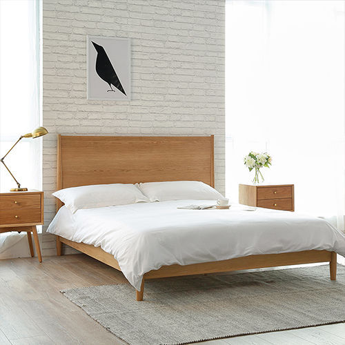 Wood workshop Nordic style solid wood bed imported white oak and walnut Japanese double high bed fabric bed