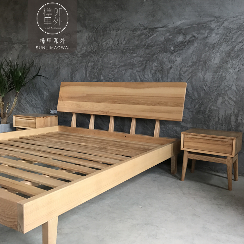 Mortise sockets outside Home Furnishing low back log double bed Nordic simple black walnut imported red oak wood bed