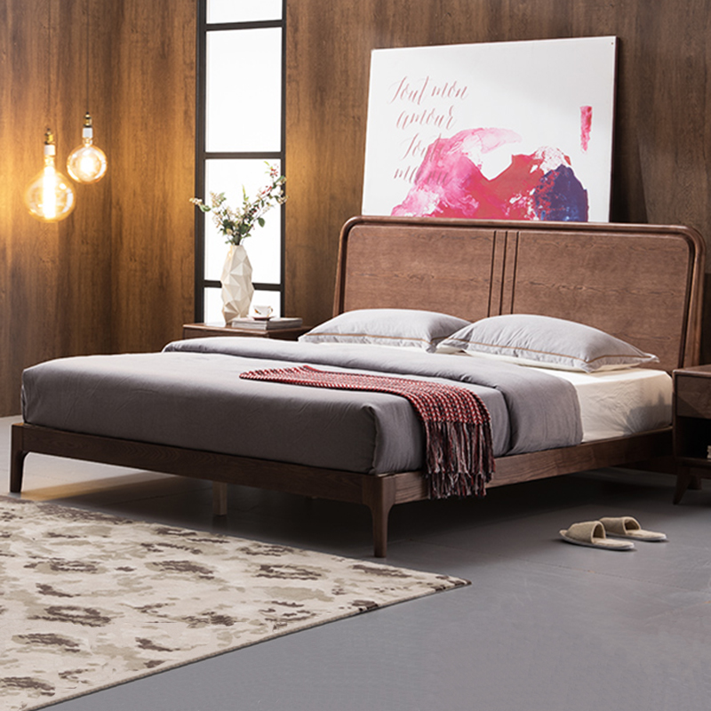 The whole solid wood bed oak simple double 1.5/1.8 meters ash bed Zhuwo marriage bed bedroom furniture