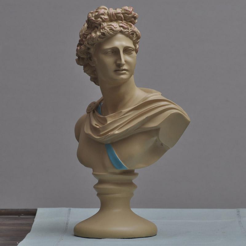 古銅色一個潮品大衛頭像雕塑歐式家居人物擺飾 樹脂工藝品飾品擺件人像雕刻