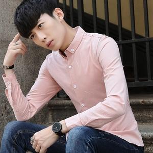 2018春季新款长袖男衬衫韩版潮纯棉修身寸衫青年弹力商务寸衣