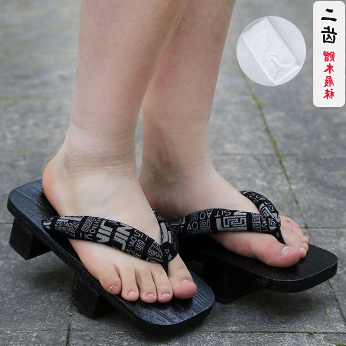 新款 高跟木头鞋正宗日式烧桐下驮cosplay男女款二齿木屐木拖鞋