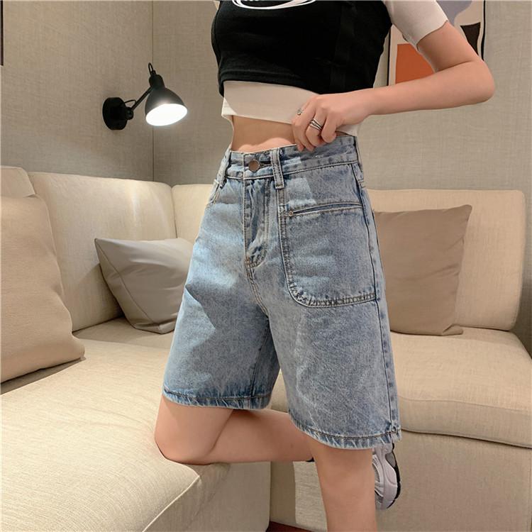 实拍实价韩版新款港味显瘦宽松直筒牛仔短裤五分裤