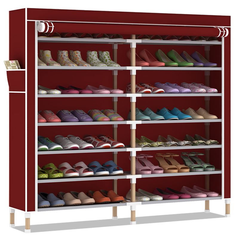 Long 120 wide and 26 high 125cm 8 large double layer solid wood cabinet rack simple shoes cabinet containing thick dust