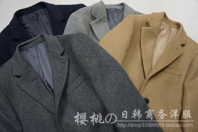 韩国大衣 切斯特外套 男装冬季毛呢大衣 羊毛顺绒 手感
