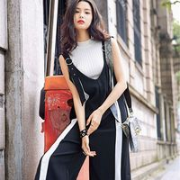 2017, the new summer style of Europe and the United States, women's retro, hit color, conjoined suspenders, pants, nine points wide leg pants, trousers