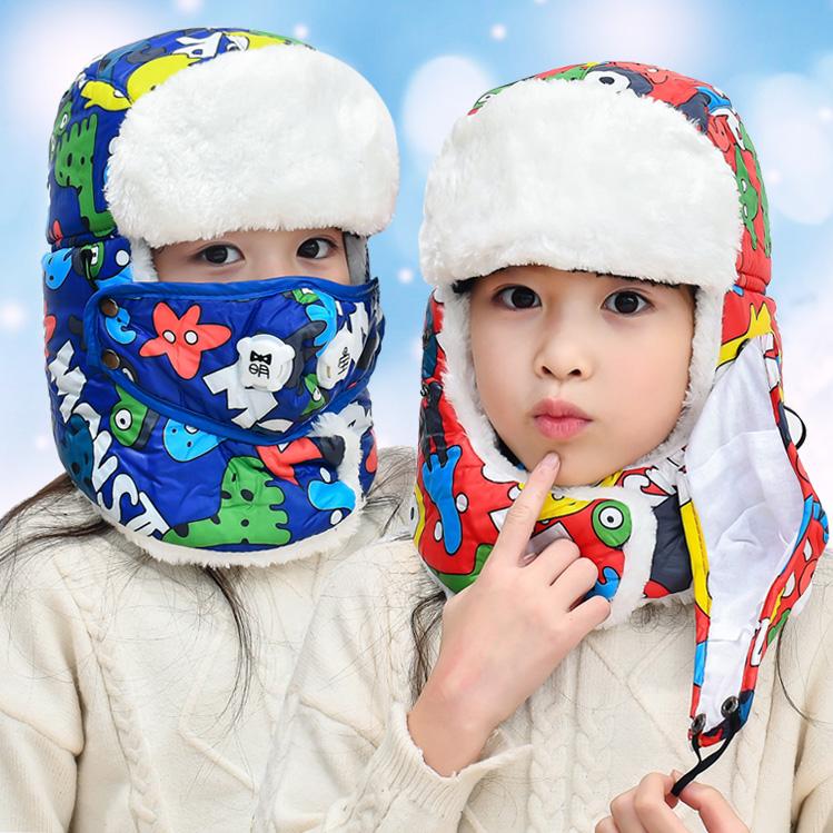 儿童加绒雷锋帽冬季保暖加绒护耳帽宝宝防风骑车雷锋帽男童女童帽