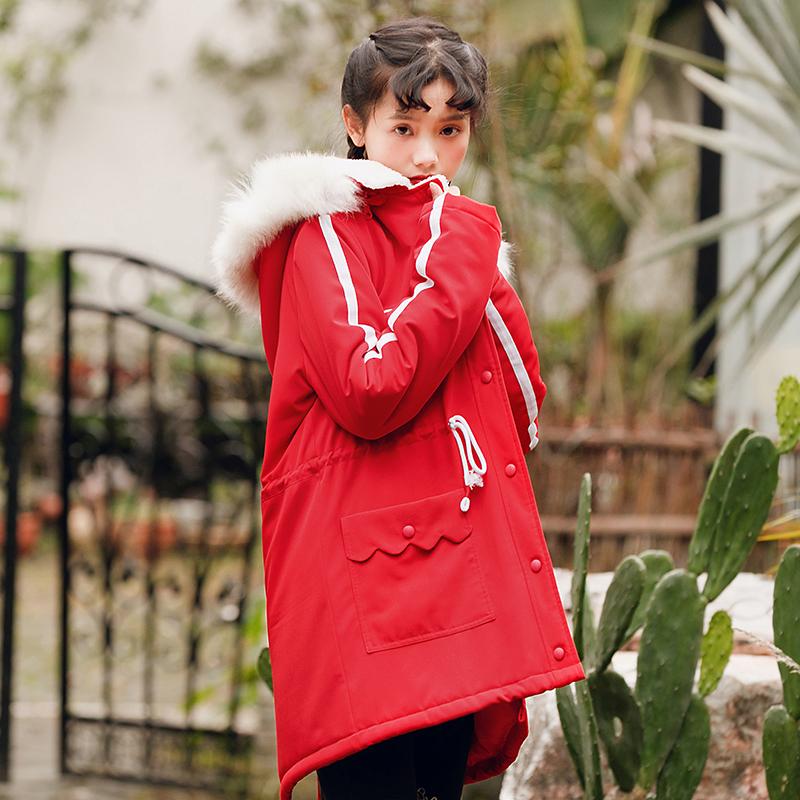 Áo khoác/Áo khoác bông nữ dáng dài cổ lông chất thoáng mát phù hợp cho mùa đông kiểu dáng rộng rãi phong cách học sinh mẫu mới nhất