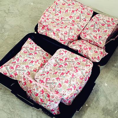 可爱卡通旅行收纳袋套装防水行李箱整理袋六件套 旅行衣物打包袋