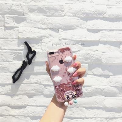 DIY云朵粉流沙iphone7plus苹果6/8/x手机壳8巴士吊坠日韩可爱软女
