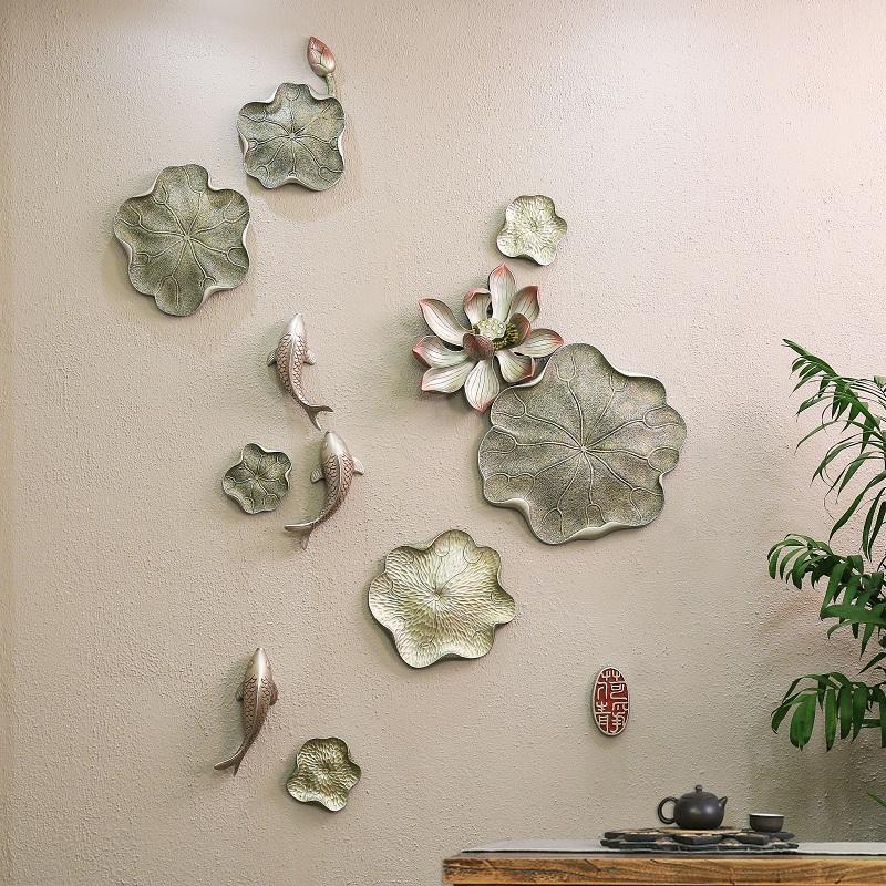 組合二(如需其他顏色請備注)現代中式古典壁飾客廳酒店臥室墻飾壁掛創意立體家居墻上裝飾掛件