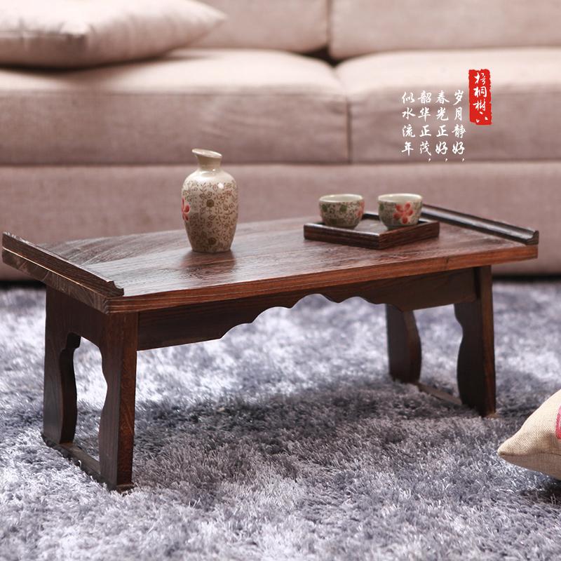 Solid wood table small tea table bed tatami folding desk computer desk Japanese table Kang several windows