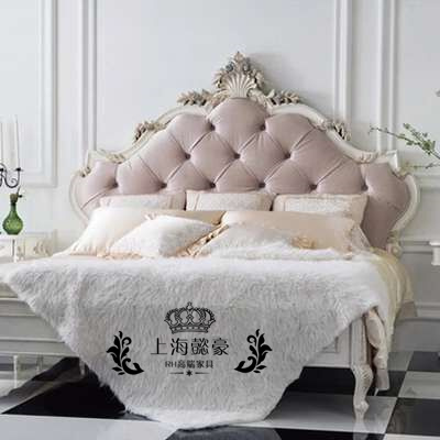 American neo classical carved oak wood bed fabric soft bed bed bed bed jeol 1.5/1.8 meters