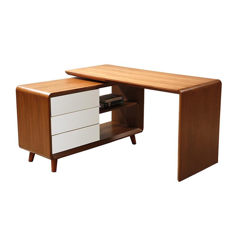 الخشب الصلب مكتب الشمال البساطة الحديثة متعددة الوظائف تدور المكاتب المنزلية طاولة كمبيوتر الزاوية الرفوف الخشبية مجتمعة