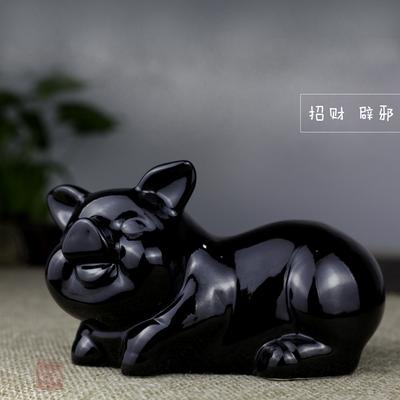 陶瓷动物招财黑猪摆件风水家居饰品客厅装饰品摆件工艺品摆设创意