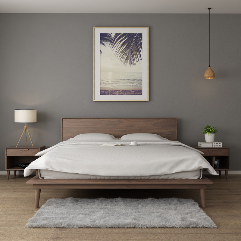 Nordic black walnut wood beds, 1.8 meters double oak, cherry wood, simple wood wax furniture new products