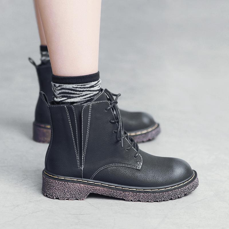 MASOOMAKE英倫風繫帶平底加絨短靴子女 2017新款復古秋鼕馬丁靴女
