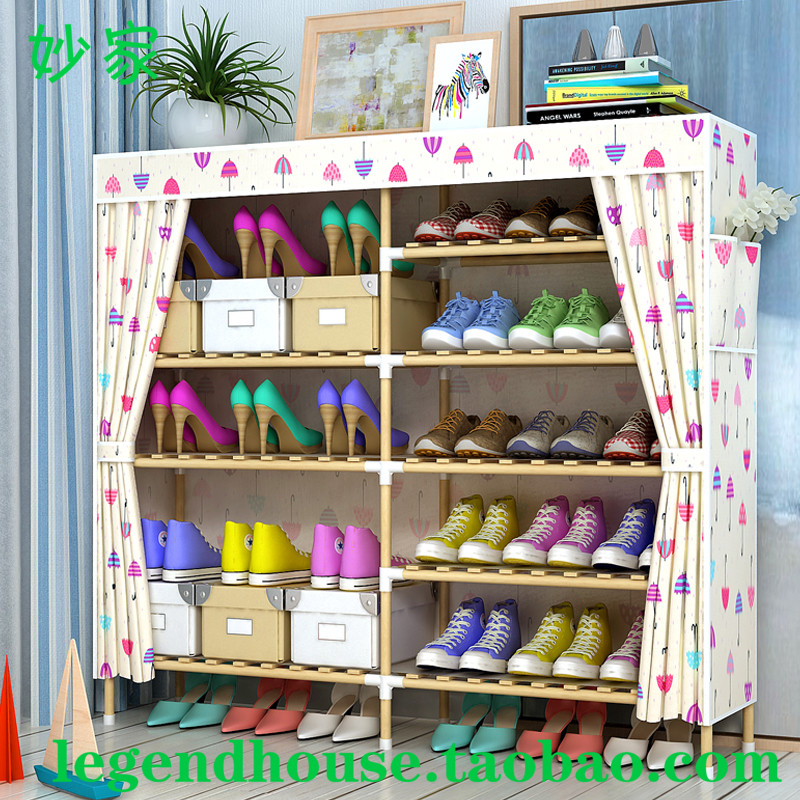 Un support de chaussure en bois massif avec couvercle anti - poussière domestique simple de type rideau de tissu de traction de l'armoire de stockage de salon minimaliste moderne