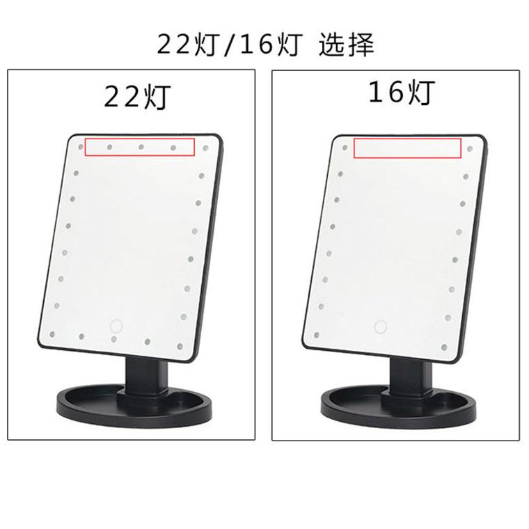 La Lámpara LED con pantalla táctil de espejo de maquillaje de carga USB pantalla HD de amplificación de rotación de escritorio vistiendo un espejo portátil de dormitorio.