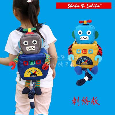 新款纯棉韩版儿童机器人防走失玩具书包幼儿宝宝双肩包背包立体