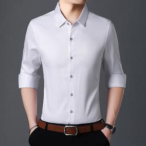 长袖衬衫男衬衣2018秋季新款纯色上衣韩版修身休闲时尚潮男