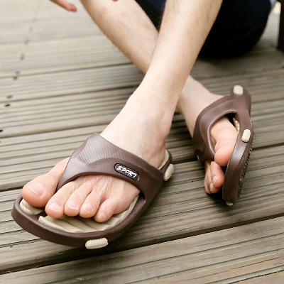夏季新款按摩底拖鞋鹅卵石按摩底男拖鞋韩版人字拖男拖鞋 沙滩鞋