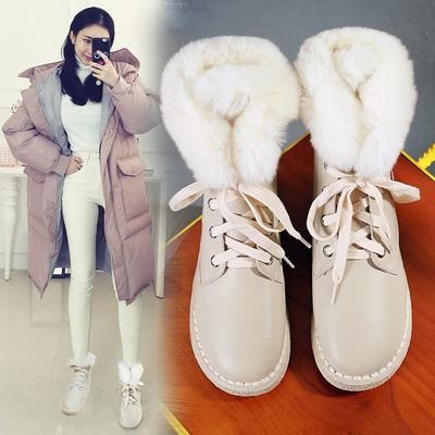 短靴女马丁靴平底雪地靴女短筒中筒韩版秋冬季2016新款棉鞋女鞋子