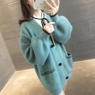 长袖2019春秋季女装新款纯色宽松秋装针织毛衣上衣打底衫女潮