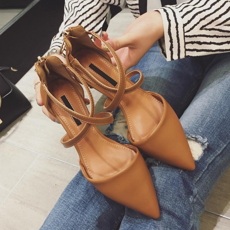 2017春夏季韩版新款尖头中空单鞋女交叉细带镂空凉鞋女粗跟女鞋潮