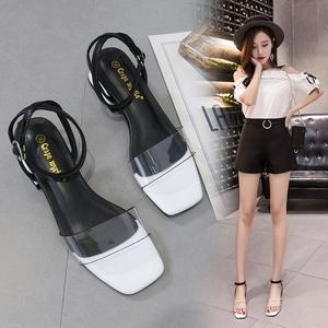 6月12号夏季新款韩版一字带粗跟凉鞋女中跟百搭罗马露趾女鞋 841