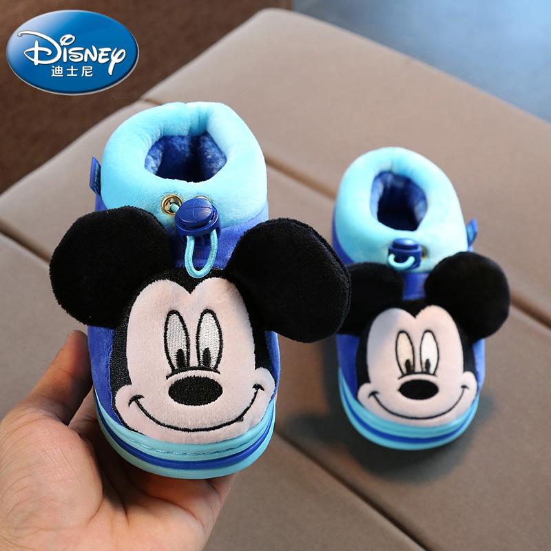 迪士尼冬季儿童棉拖鞋包跟卡通软底防滑居家保暖男童女童宝宝棉鞋