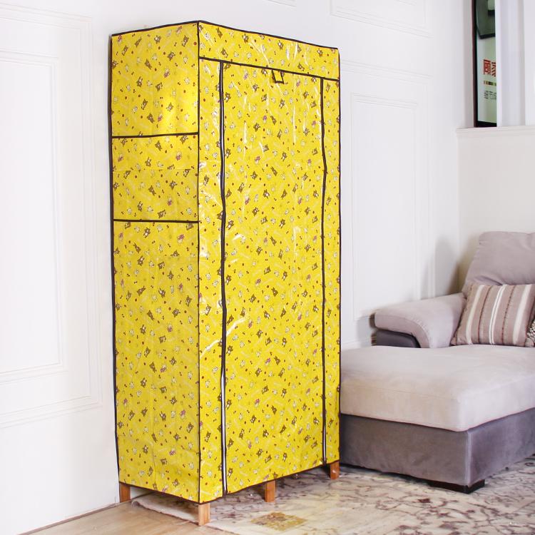 Armoire de bambou en bois massif de l'économie moderne d'assemblage simple adultes casiers penderie pliable de tissu garde - robe cintre de conditionnement de courrier