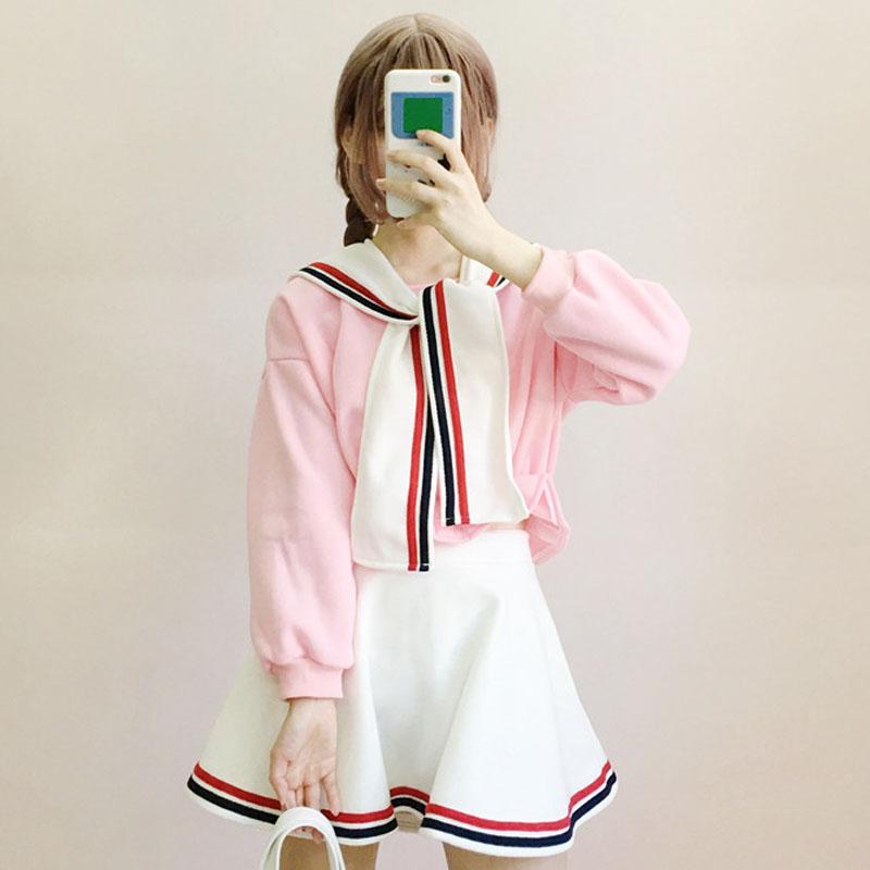 秋鼕女裝韓版學生寬松長袖衛衣 短裙ulzzang時尚休閑套裝兩件套潮