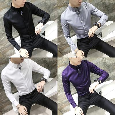 秋季发型师英伦衬衫男长袖修身潮流个性社会帅气寸衣痞帅夜店服装