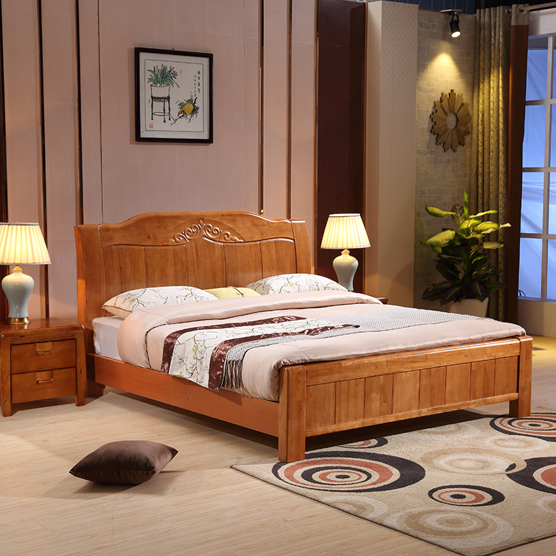 The simplicity of modern solid wood bed double Zhuwo 1.5m storage 1.8 meters high box type bed bed Chinese economy