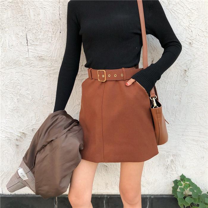 半身裙女韓版bf高腰秋鼕新款百搭純色毛呢包臀裙A字裙短裙 送腰帶