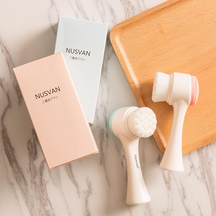 日本nusvan林允同款洗脸刷双面软毛硅胶洁面扑手动洗脸扑深层清洁