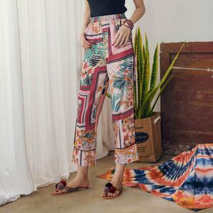 1928#泰国风度假九分裤2018夏季新款复古印花雪纺阔腿裤