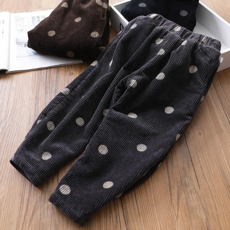 超赞加厚加绒女童萝卜裤 波点宝宝灯芯绒长裤保暖裤冬装新款童装