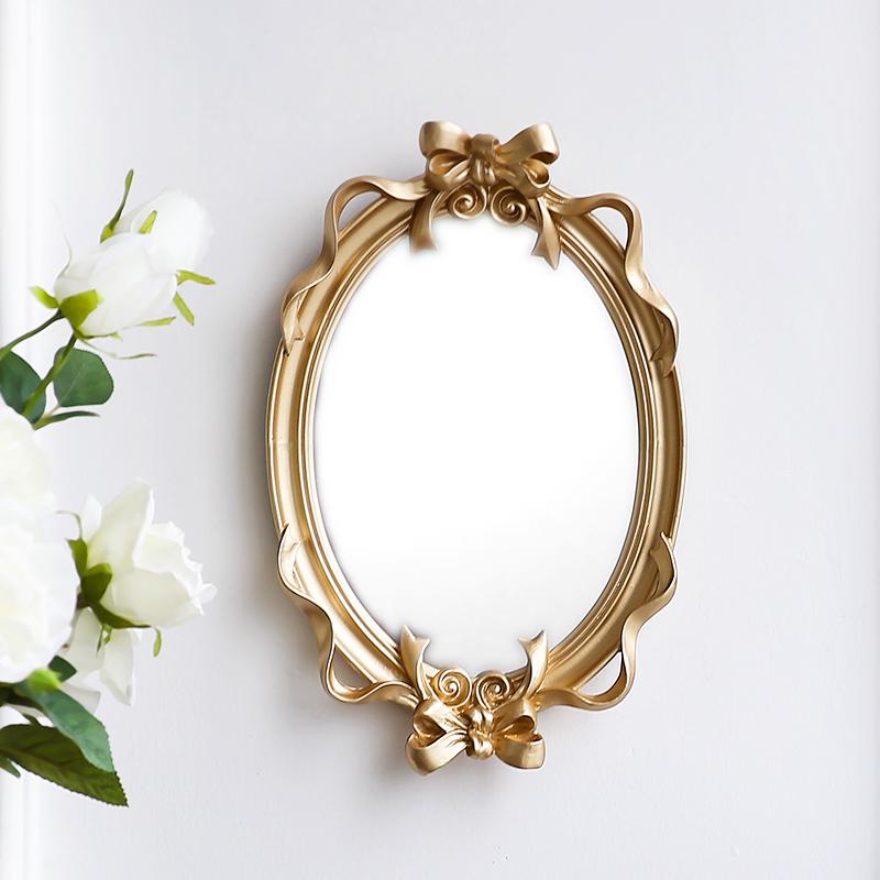 歐式宮廷風蝴蝶結樹脂玻璃鏡子 浮雕奢華亮金色壁飾鏡 可做托盤