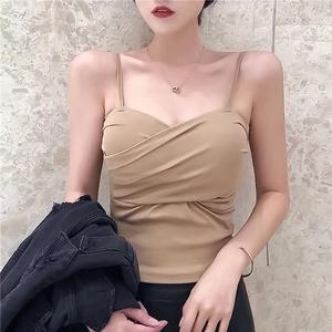 网红小吊带背心女外穿内搭韩版性感带胸垫罩打底抹胸上衣露肩夏潮