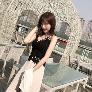 甜美夏季刺绣蕾丝吊带镂空背心女露肩漏背打底修身上衣沙滩小清新